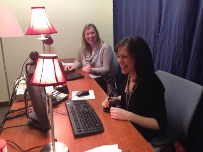 Allison DeDonato (left) and Sarah Finley get ready for January's webinar. The topic - Disaster Preparedness for Seniors.