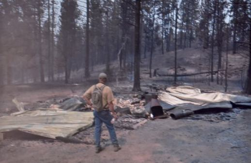 The remains of the Cenis family cabin after it was destroyed by the wildfires that swept through the Fruitland area of Washington State. Photo provided by Dan Cenis.