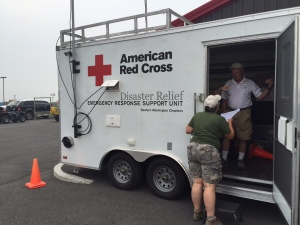 Red Cross mass care teams coordinate the delivery of 1,000 meals per day.