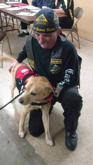 A Navy vet meets Joy, the Red Cross therapy dog.