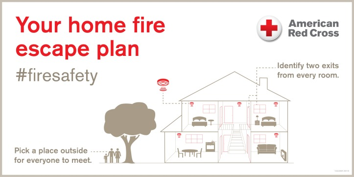 Home Fire Safety Illustration - have two exits from every room and meet outside
