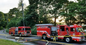 Fire trucks on road