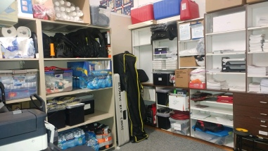 Supplies are neatly stored inside the office in Sequim, WA