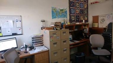 The office in Sequim, WA has reduced in size but not in function. Organization is critical to success.
